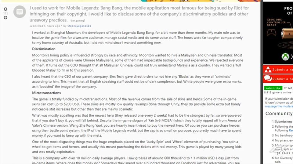 Mantan Karyawan Ungkap Keburukan Game Mobile Legends Screenshot 1