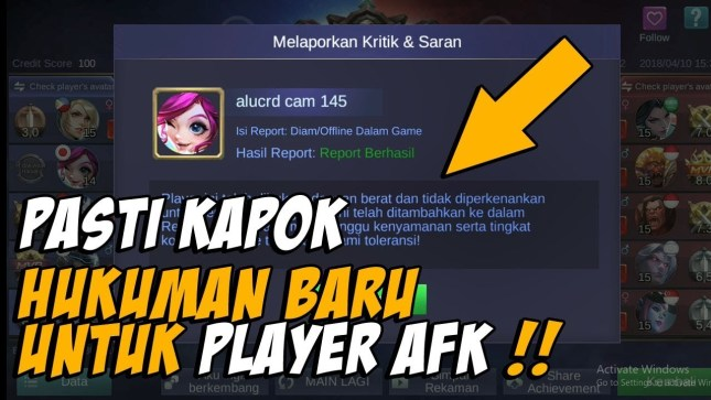 Jangan AFK di Game Mobile legends