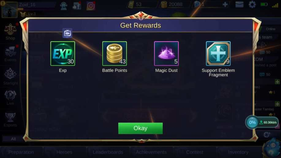 cara mendapatkan battle points di mobile legends - Membuka Free Chest