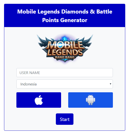 Mobile Legends (ML) Diamonds & Battle Points Generator