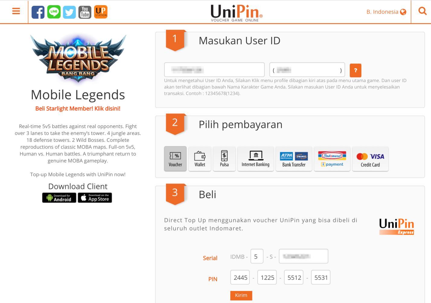 unipin Top up diamond Mobile Legends murah