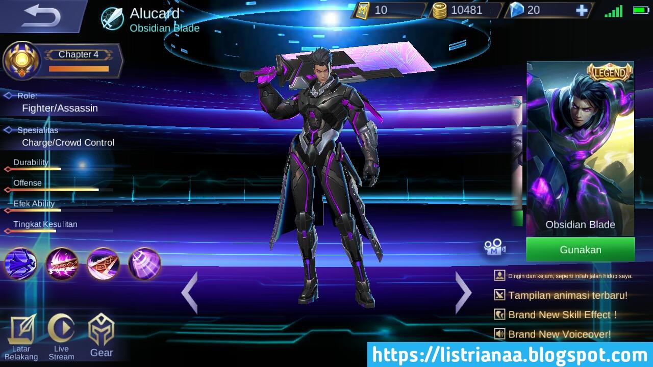 Skin Alucard - Obsidian Blade (12.000 diamond)