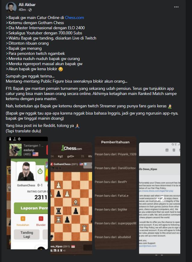 klarifikasi Gothamchess kalah catur