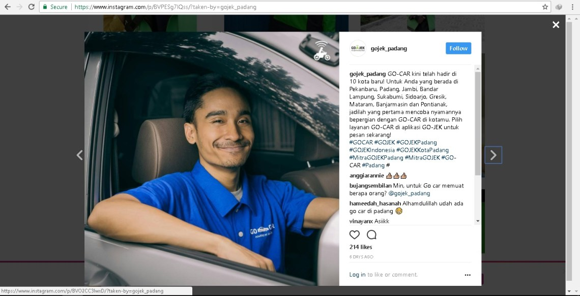 Instagram GoJek Cabang Padang.