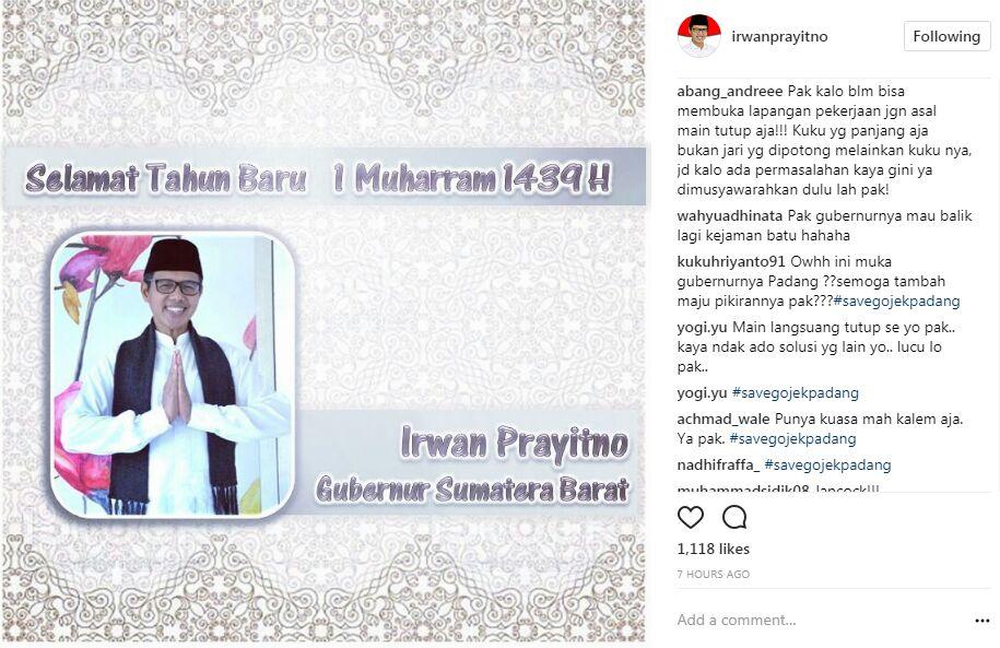 Screenshoot salah satu komentar Netizen terkait penutupan Kantor GoJek Padang pada akun sosial media, Instagram milik Gubernur Sumatera Barat.