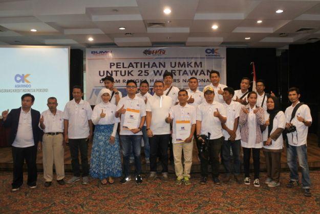 Pelatihan UMKM Wartawan Sumatera Barat oleh Askrindo Cabang Padang di Pangeran Beach Hotel, Kota Padang, Kamis (8/2/2018).
