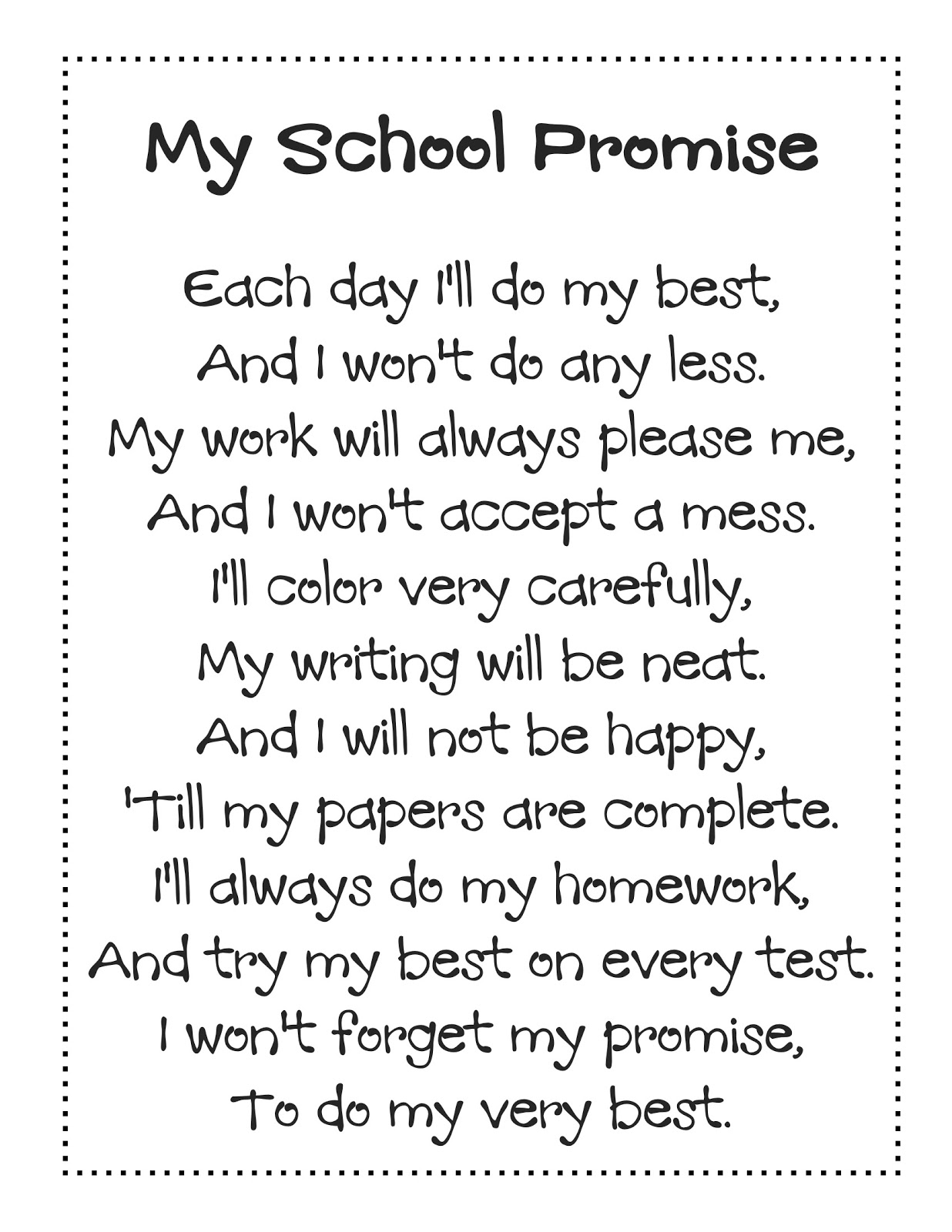 Welcome Back To School Poem 4th Grade