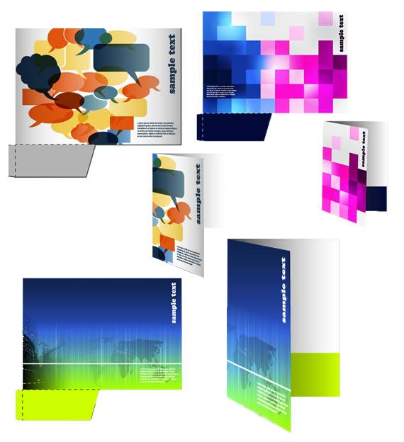 Muestrario de tres opciones de carpetas de entidad corporativa, en combinaciones de colores diferentes.