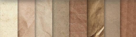 Vista previa de texturas de papeles con tonos tierra y dorados