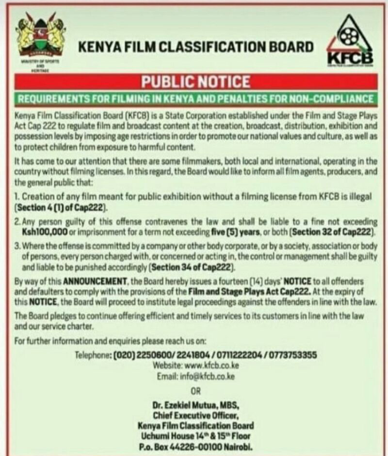 film licensing in Kenya