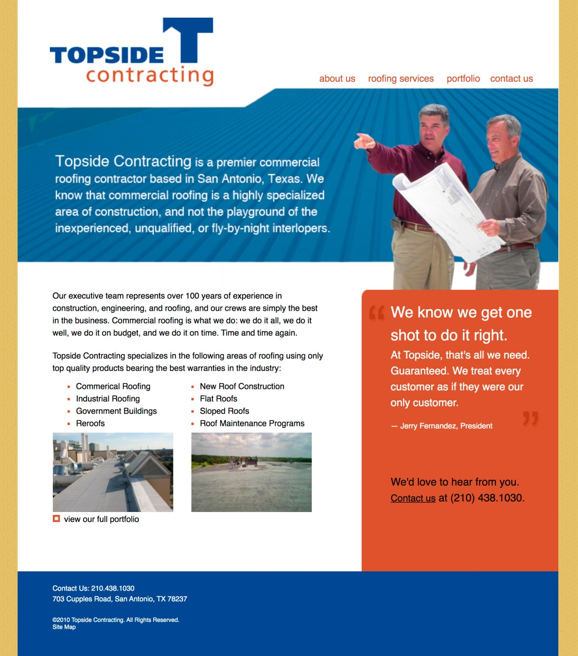 Topside Contracting Website Homepage