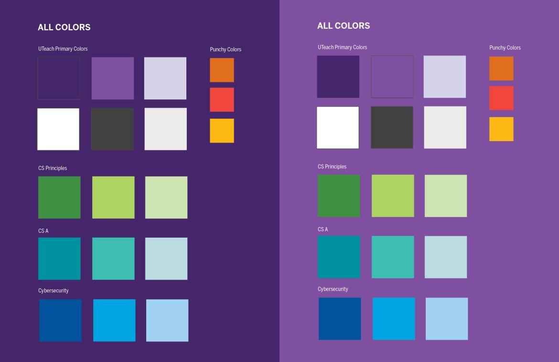 UTeach CS Color Palette - All Colors - Purple Background
