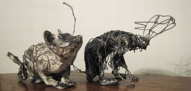 Cats, paper clay & wire, 2005