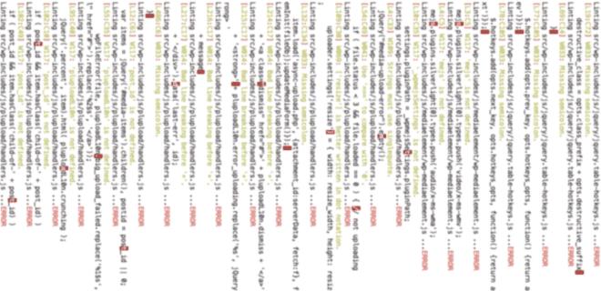 Blurred screenshot of JSHint Errors in WordPress Core