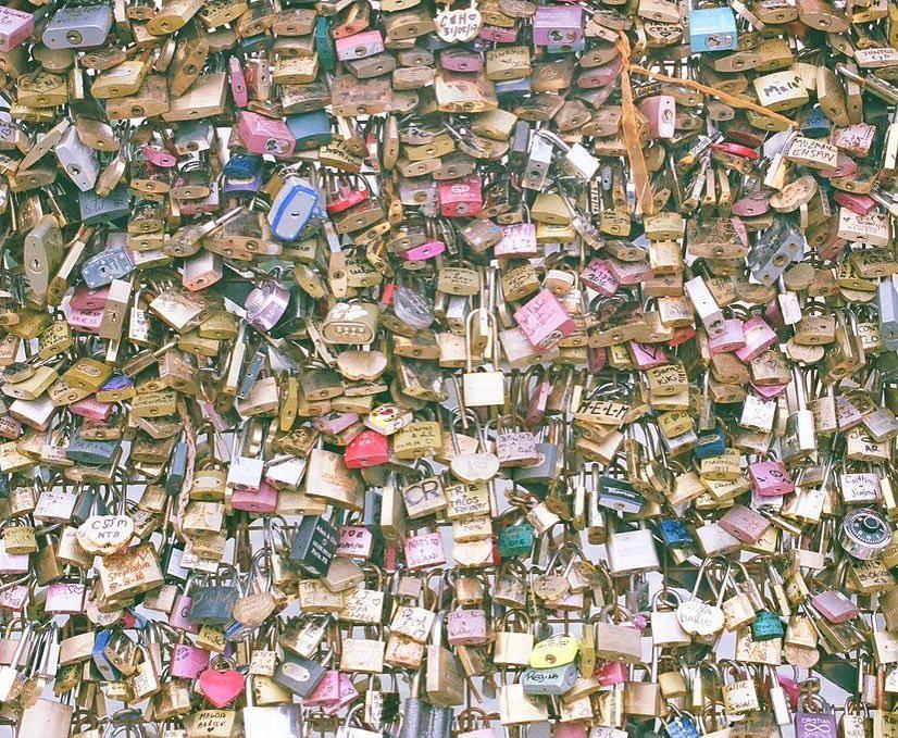 Love locks on the le de la Cit latergram fujisuperia400hellip