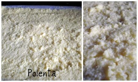 préparation de la polenta qui accompagne l'osso bucco