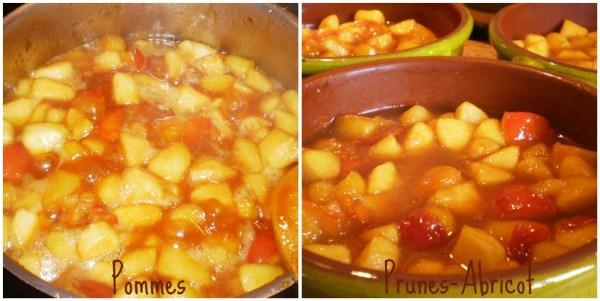 Préparation et cuisson des pommes, prunes et prunes-abricots