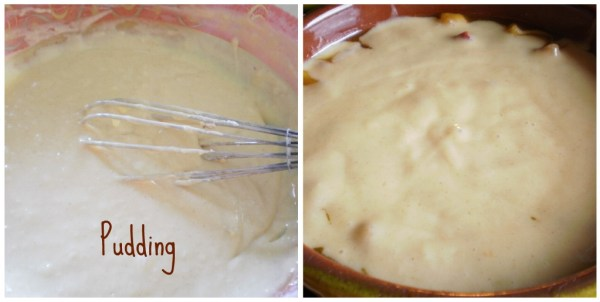 Préparation de la pâte à pudding pommes