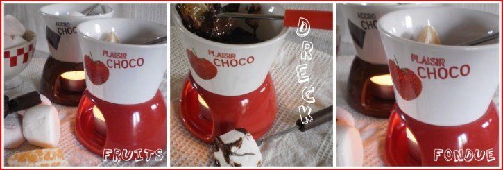 recette-dessert-fondue de chocolat, chamallows et morceaux de fruits