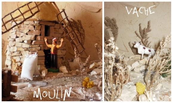 Traditions Provençales-Le moulin de la crèche provençale en pierres avec son meunier
