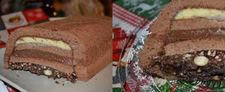 Recette de Noël de la bûche aux 3 chocolats craquante