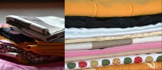 Photo organisation avec des morceaux de tissus rangés - organisation