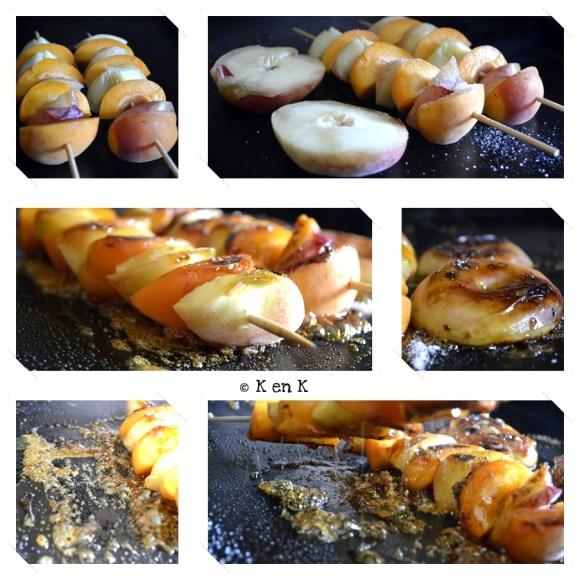Cuisson Brochette pêche plate et d'abricots caramélisés à la plancha un dessert servi avec un sorbet à la pêche sur le blog de cuisine avec des produits frais et bio de ©Kaderick en Kuizinn