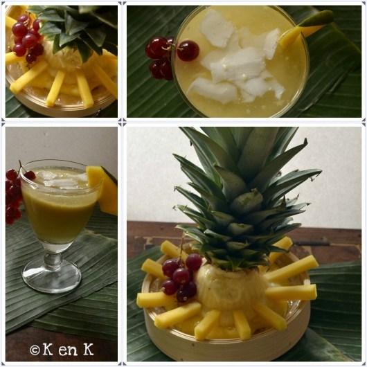 Préparation du jus de mangue à la noix de coco et sorbet ananas pour mon 1er bento ©Kaderick en Kuizinn