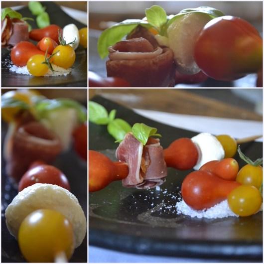 recette des brochettes aux tomates, mozarella et jambon - entrées