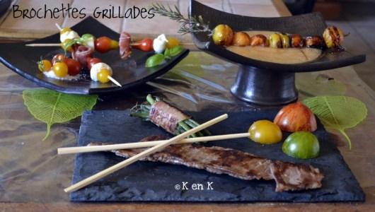 Recette de brochettes grillades en entrée, plat et dessert - Plancha
