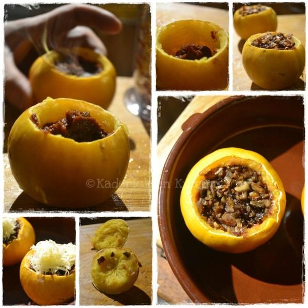 Cuisine bio, cuisson et farce des pommes d'or à la purée de carottes