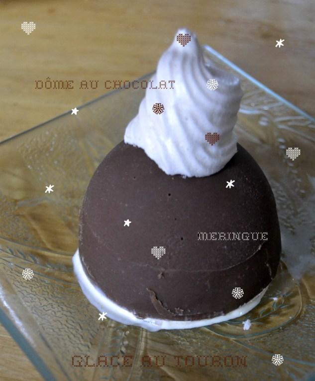 Recette des coques au chocolat à la glace au nougat avec des meringues