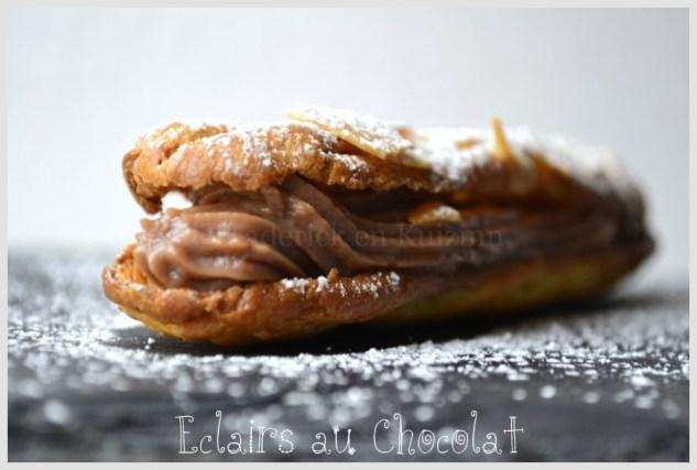 Recette des éclairs au Chocolat  au Lait avec des amandes effilées