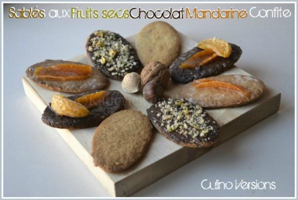 Recette des sables fruits secs chocolat et mandarine confite pour culinoversions