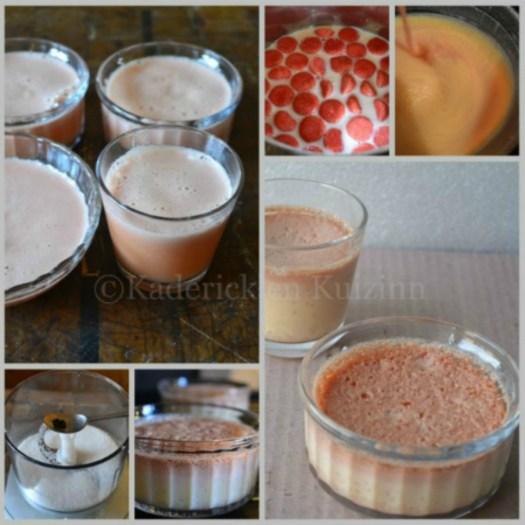 Recette-Préparation des creme brulee aux fraises tagada
