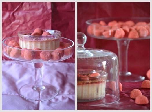 Présentation des creme brulee dans une cloche à gâteaux transparente