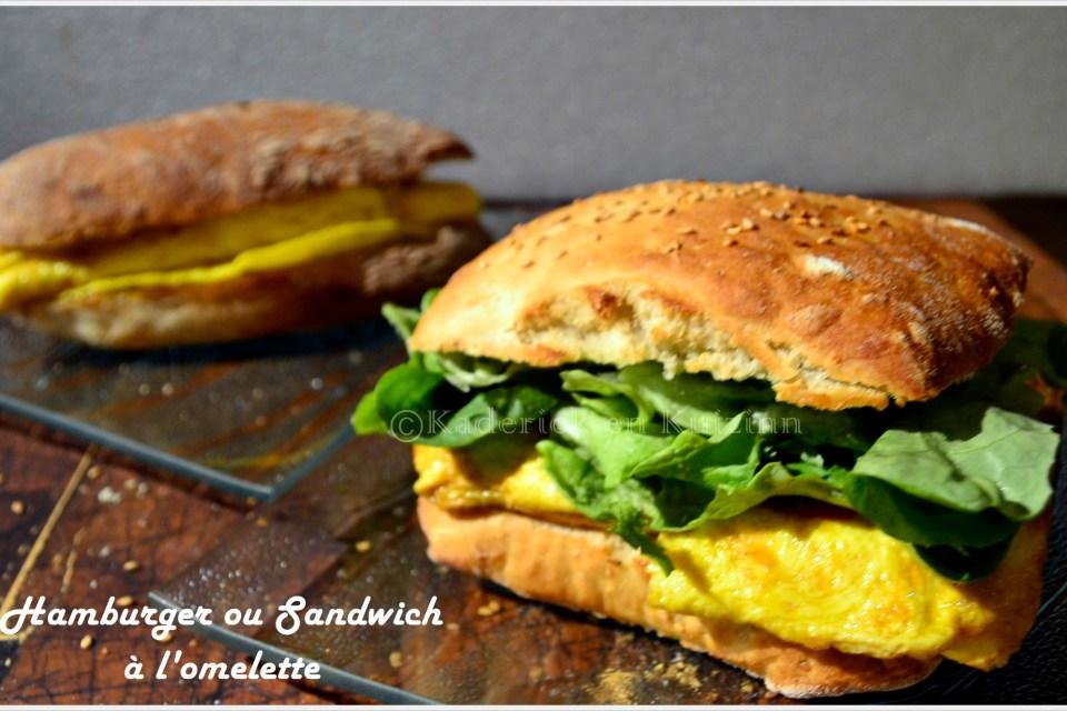 Recette Hamburger ou sandwich à l'omelette pour le thème deu mois de mars de Culinoversions