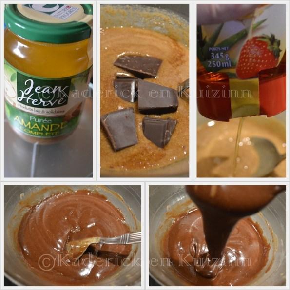 Préparation de la pâte à tartiner maison avec de la purée d'amande complète, du chocolat noir et du sirop d'agave - recette équilibrée