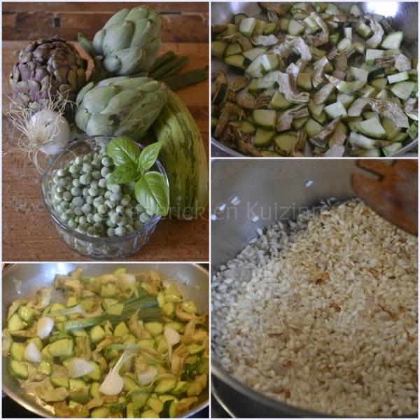 Recette du risotto légumes bio printaniers avec des petits pois, courgettes et artichauts, cuisine italienne