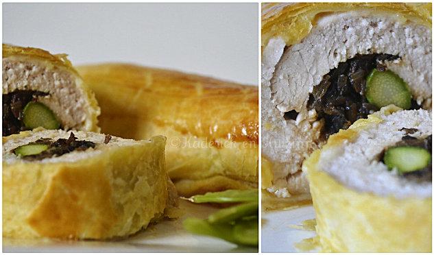 Découpe du feuilleté de dinde champignon asperge un plat complet et servi avec des petits pois mange tout