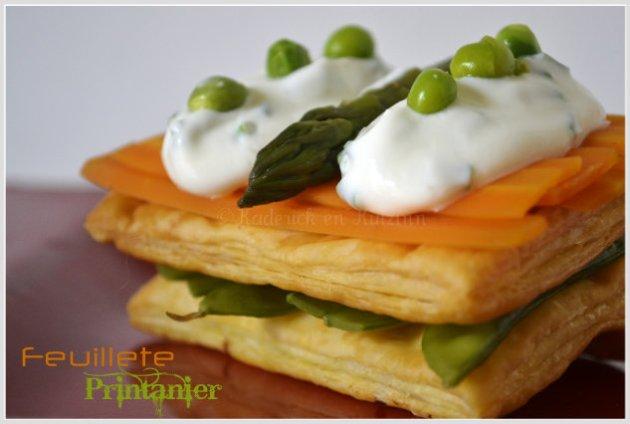 Feuilleté printanier bio au carotte, asperge verte, petit pois gourmand et crème fraîche à la ciboulette