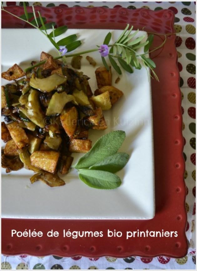 Présentation de la recette poelee de pomme terre, courgette et artichaut pour une recette bio