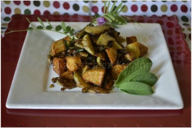 Recette poelee de légumes bio printaniers servi dans une assiette carrée blanche sur une autre rouge