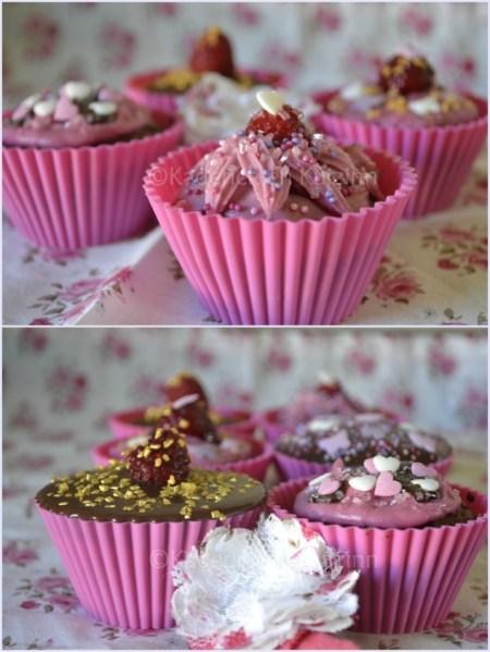 Recette des cupcakes chocolat framboise trop fifille avec glaçage chocolat ou rose vahiné