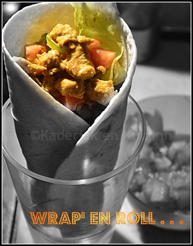 Dégustation des wraps de dinde au curry de madras, dès de tomate, oignons frais et salade croquante bio