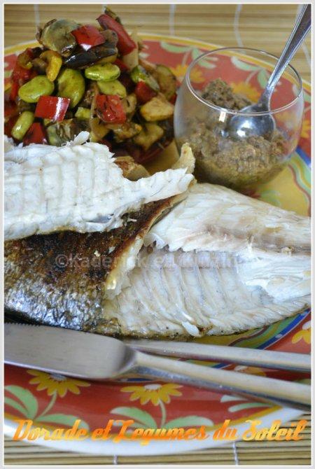 Présentation de la daurade aux légumes du soleil à la plancha pour une cuisine Italienne