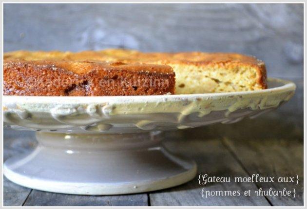 Présentation du gâteau aux pommes et rhubarbe dans un plat gris et blanc vieillit