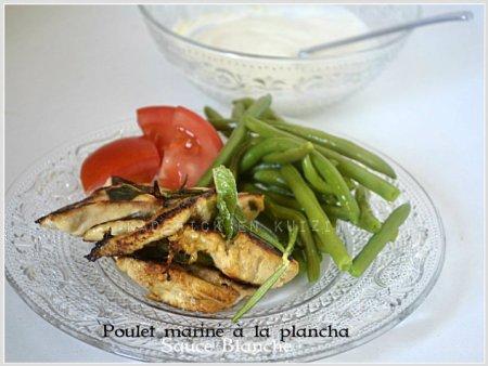 Recette du poulet mariné au citron cuit à la plancha avec une sauce blanche faites avec du St Moret