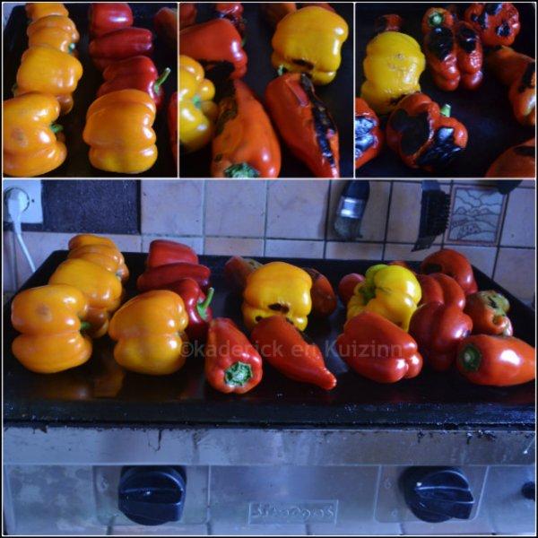 Cuisson des poivrons multicolores à la plancha à gaz double feux de la marque Simogas