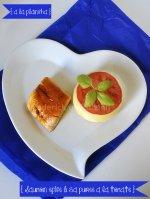 Cuisine plancha - Dégustation saumon épicé à la plancha & purée tomate bio présenté dans une assiette en forme de coeur